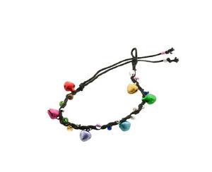 Bracelet bresilien amitie fil tresse avec clochettes porte bonheur noir 8127