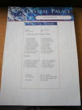 23/10/1999 Colour Teamsheet: Crystal Palace v Tranmere Rovers (Folded, Writing O