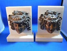 Antique Alabaster Bronzed Spelter Dionysus Greek God of Wine Bookends