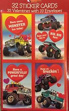 Monster Truck 32 Valentines Cards With Envelopes 4 Designs New