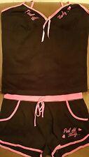 NUEVO: Negro y Rosa Sexy Ropa de Dormir Pantalones Cortos Set Size (M) 12/14