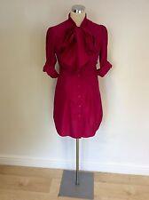 Ted Baker Fuchsia Pink Seide Kätzchen Schleife Shirt Kleid Größe 2 UK 10