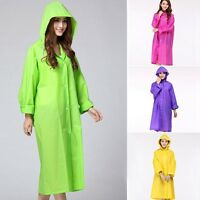 Women Long Raincoat Translucent Waterproof Jacket Outdoor Button Hooded Rainwear