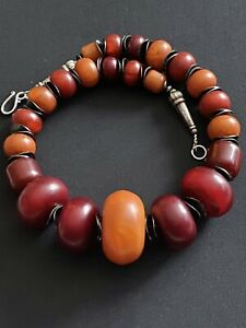 Honey and Cherry copal resin Amber Vintage handmade Moroccan Berber necklace.