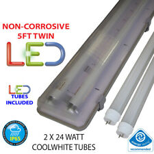 5FT TWIN LED 2 X 24W  NON CORROSIVE WEATHERPROOF FLUORESCENT LIGHT FITTING IP65