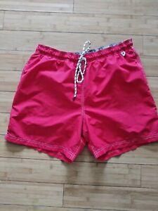 VTG Lands End Mens Solid Red Swim Trunks Size 40-42 XL Tie Elastic Waist Pocket