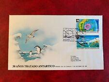 CHILE ANTARCTIC 1991 FDC TREATY PENGUINS MAP BIRDS SEA LIFE WHALES DOLPHINS