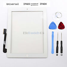 For iPad 3&4 White Front Panel Touch Screen Glass Digitizer Replacement+Adhesive