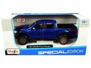 1:27 2019 Ford Ranger Lariat Sport Pickup Truck -- Dark Blue Metallic -- Maisto