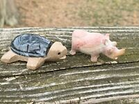 Vintage Cancun Mexico SEA TURTLE Made of Marble Stone & RHINOCEROS SET 2.5 ❤️m9