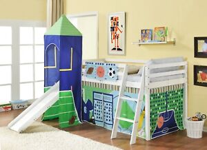 Cabin bed mid sleeper Kids with Sports Tent and Tower in White