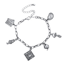 Lux Accessories Boho Burnished Antique Silver Mad Hatter Chain Charm Bracelet