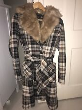 Topshop Wool Blend Vintage Thick Winter Checked Coat Faux Fur Collar 10