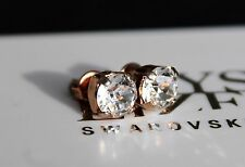Rose Gold Plated Stud Earrings made with 6mm Clear Swarovski Crystal Elements