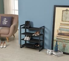 4-Tier Metal and fabric Shoes Rack (Black)