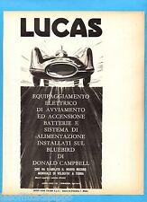 QUATTROR964-PUBBLICITA'/ADVERTISING-1964- LUCAS e IL BLUE BIRD di D.CAMPBELL