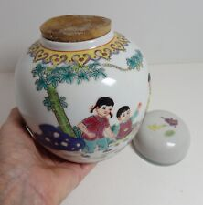 Vtg Porcelain Chinese Enamel Ginger Jar Unopened! Paper Label Republic Era 6""