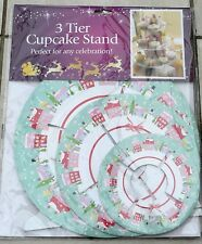 lovely Christmas 3 Tier Cupcake Stand cardboard Christmas Snow Scene  - new