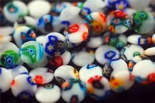 Pretty 50ps Glass Floral White Millefiori Beads Spacer Craft Finding 12mm Charms