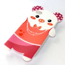 For iPHONE 4 4G 4S - SOFT SILICONE RUBBER SKIN CASE COVER CORAL PINK TEDDY BEAR