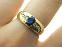 18 Carat Yellow Gold, Diamond Swirl & Claw Set Sapphire Ring Size O 5 Grams