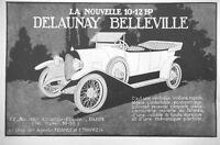 PUBLICITÉ DE PRESSE 1922 AUTOMOBILES 10-12 HP DELAUNAY BELLEVILLE