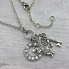 Silver Alice in Wonderland Necklace, White Rabbit Key & Clock Charm Necklace