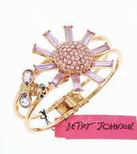 Betsey Johnson Gold Tone Pave Pink Flower and Bee Hinged Cuff Bracelet