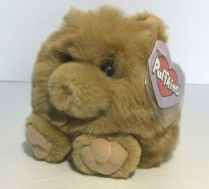 """Puffkins Cinnamon, A Golden Brown Kitty Cat 4-1/2"""" Tall Small Puffy Toy with Tag"""
