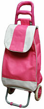 Pink/White Folding Lightweight Wheeled Grocery Cart Shopping Trolley Bag