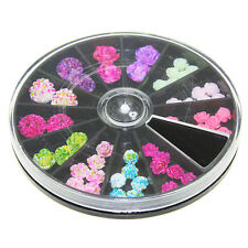 49Pcs Floral Beads Stud Nail Art 3D Colorful Resin Flower Tips Polish Decoration