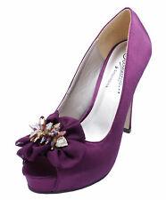 Señoras púrpura Satén Sin Cordones Puntera Abierta de Fiesta Noche Boda Tribunal Zapatos Tallas 3-8