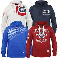 New Mens Crosshatch Branded Pullover Printed Hoodie Sweatshirt Hooded Top