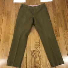 Men's Ivory Incotex Inside Stretch Cotton Flat Front Trousers Chino Pants 35x31