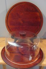 2 vintage Round Charcuterie Cheese Wood Trays Covered Cake Tray