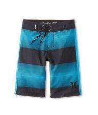 NEW* HURLEY BOARD SHORTS Boys 18  $42 Retail SWIMSUIT Black Blue Stripes
