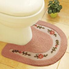 Soft Floral Toilet Contour Rug Non-Slip U-shaped Floor Toilet Lid Cover Mat Set