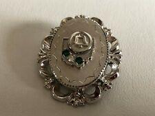 VINTAGE OHIO BELL Sterling Silver 2-TONE DIAMOND & EMERALD SERVICE PIN