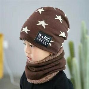 Winter children hats and scarves a two-piece set of boys and girls knitting wool