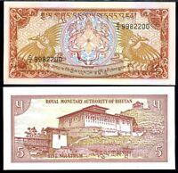 BHUTAN 5 NGULTRUM ND 1985 P 14 C/4 PREFIX AUNC ABOUT UNC