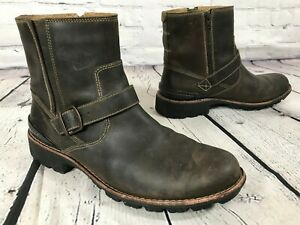 CLARKS Chilton Brown Leather Ankle Harness Boots Size 12 M