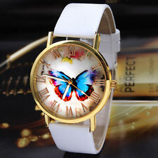 Womens White Leather Strap Craft Butterfly Watches Analog Quartz Wrist Watch New