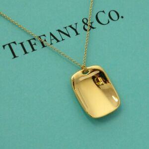 TIFFANY & Co. 18K Gold Elsa Peretti Tag Pendant Necklace $2,600 New