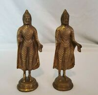 Vintage Bronze/Brass Buddha Bookends, Standing Protection Pose