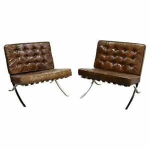 Modernist Pair of Brown Leather Barcelona Style Chrome Lounge Chairs