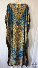 Women Kaftan African Long Dress Caftan Hippie Boho Top Dashiki Blue Free Size