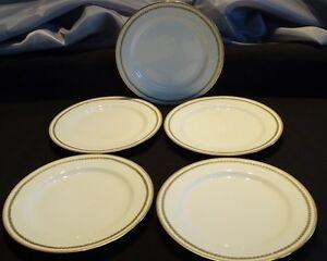 """Haviland Limoges France 5 Salad Plates 7 1/2"""" - Green Heart Ring w/ Gold Trim"""