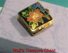 Square Cloisonne Flowered Metal Pill Box/Pendant  ** New w Gift Box **
