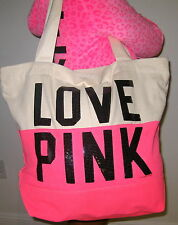 Victoria Secret Pink Dog NEON Tote Beach travel oversized bling Bag & cosmetic