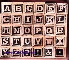 TYPEFACE #27 - ALPHABET - WOODEN PEG RUBBER STAMP SET